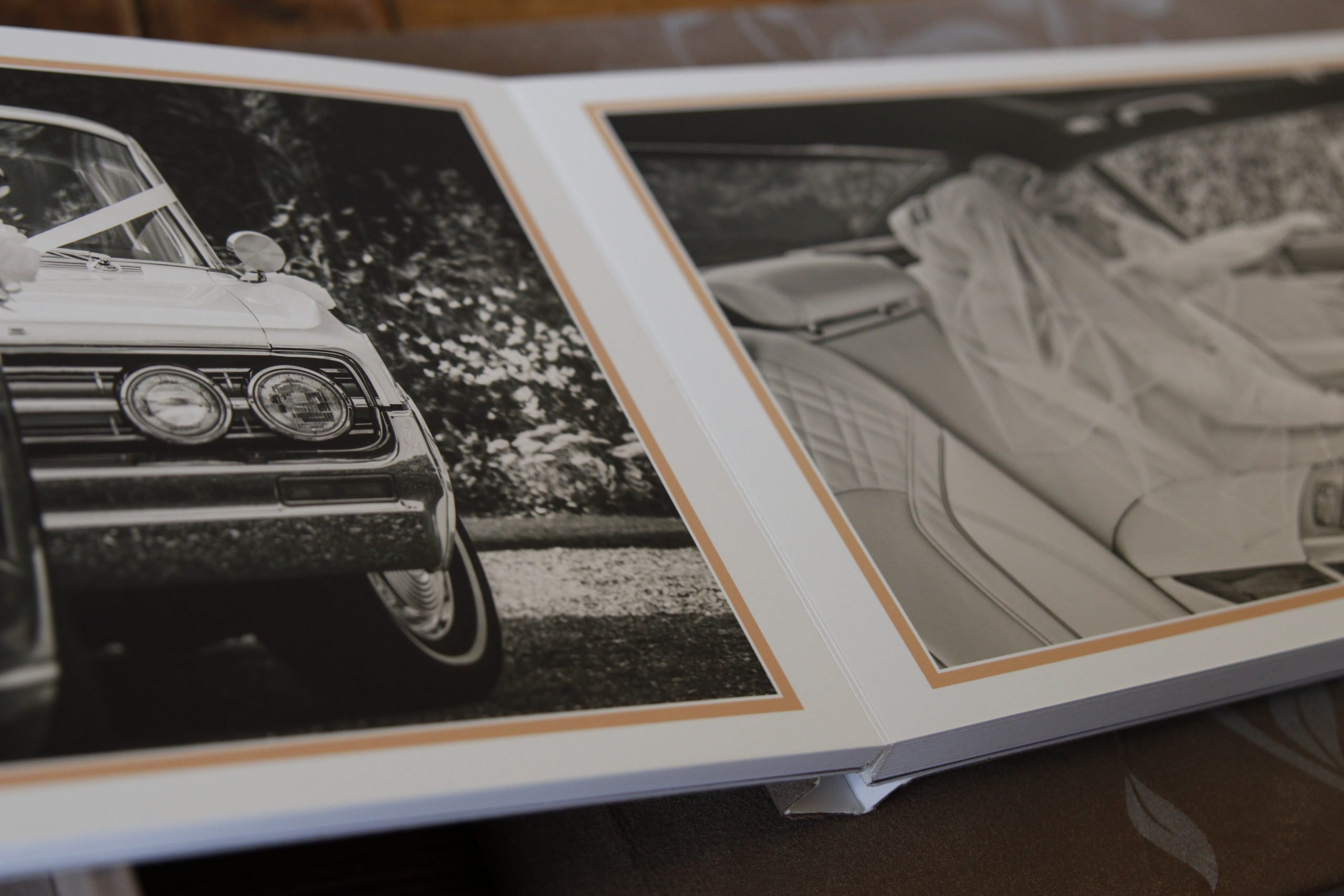 open book showing car and bride