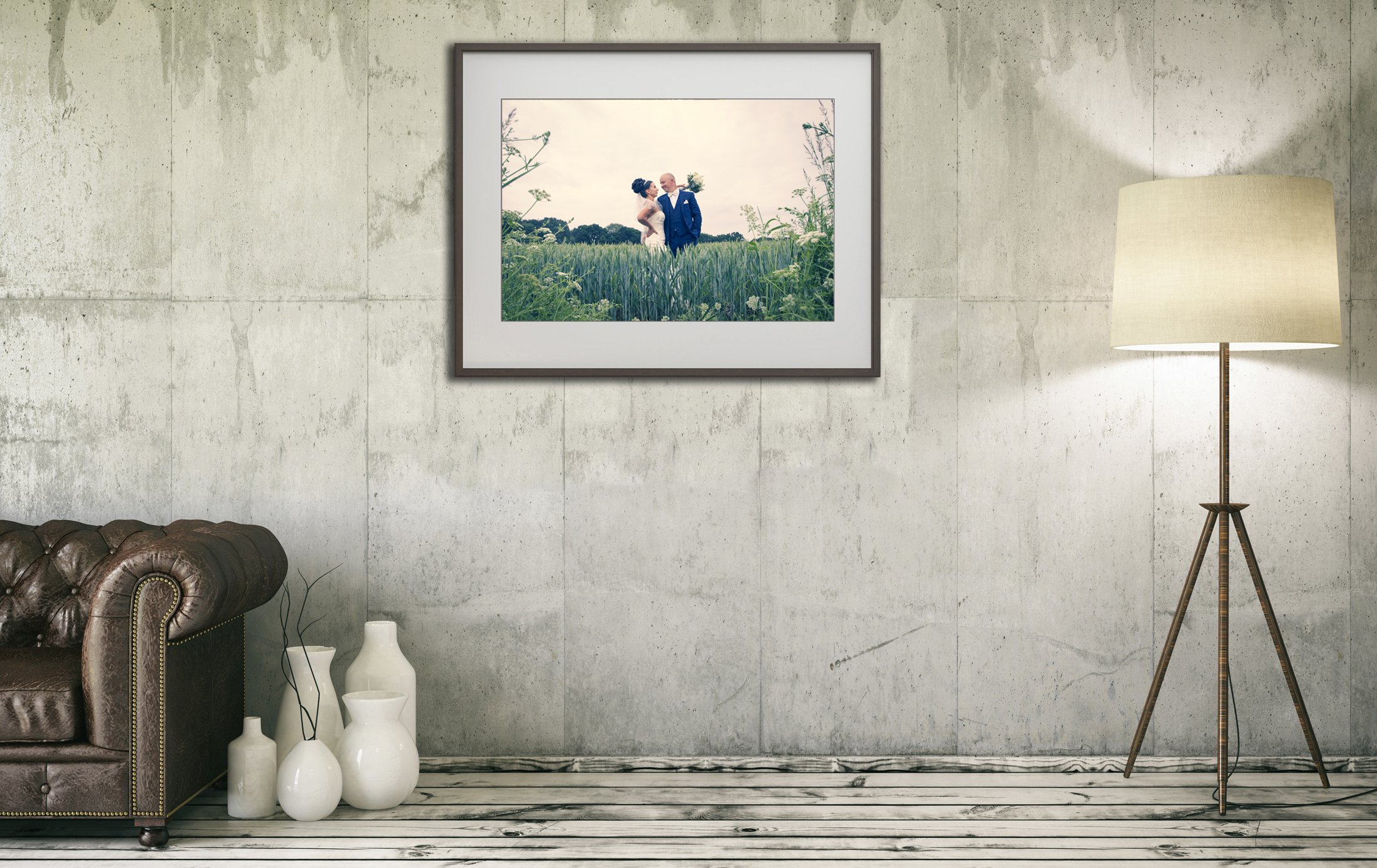 wedding picture hanging on the wall indoors